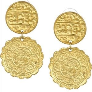 Kenneth Jay Lane Double Coin Earrings Gold